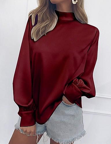 billige Topper til damer-Bomull Tynn Crew-hals Bluse Dame - Ensfarget, Drapering / Vintage Stil Grunnleggende Svart / Vår / Sommer / Høst / Vinter