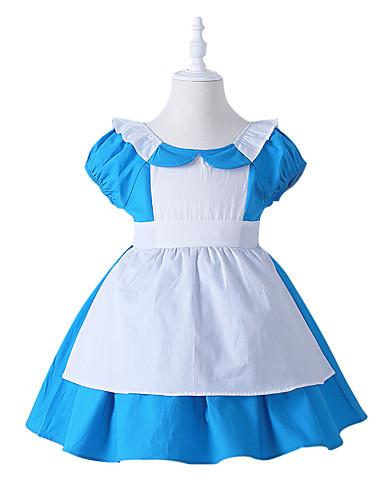00014e586 Alice in Wonderland أزياء Cosplay للأطفال للفتيات الفساتين كريسماس عيد  الميلاد Halloween مهرجان عطلة / عيد تول قطن أزرق كرنفال ازياء أميرة