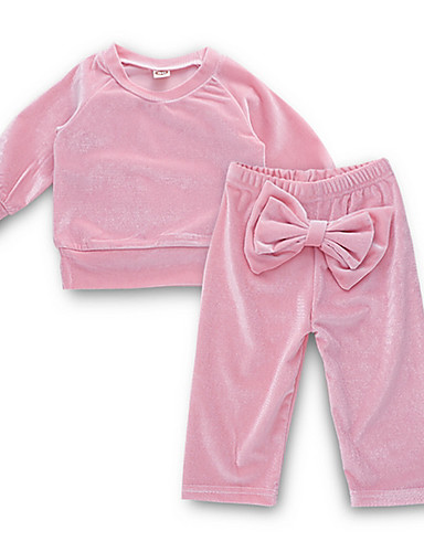 Baby Jente Gatemote Daglig Ensfarget Langermet Normal Polyester Tøysett Rosa