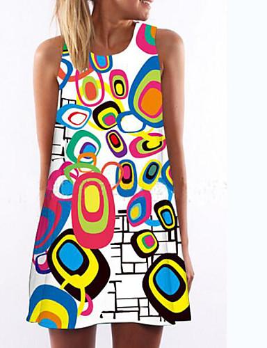 מעל הברך דפוס, גיאומטרי - שמלה ישרה רזה בגדי ריקוד נשים