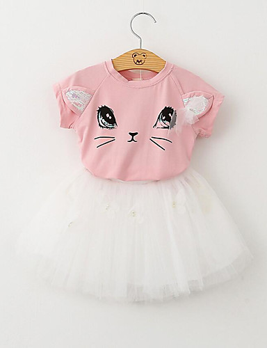 Kids / Toddler Girls' Active / Basic Daily / Going out Cat Cartoon Lace / Bow / Mesh Short Sleeve Cotton / Polyester Clothing Set White / Print