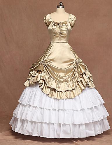 cheap Sale-Classic Lolita Victorian Medieval Dress Ball Gown Women's Girls' Satin Japanese Cosplay Costumes Golden / Champagne Lolita Sleeveless Floor Length / Classic Lolita Dress
