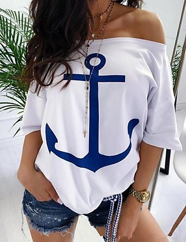 cheap Women's Tops & Sets-Women's Plus Size T-shirt - Geometric / Color Block Fashion Off Shoulder Red XXXL / Spring / Summer / Fall