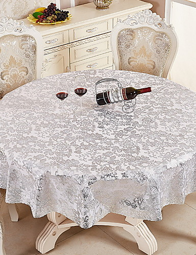 cheap Table Cloths-Contemporary PVC(PolyVinyl Chloride) Round Table Cloth Floral Table Decorations 1 pcs