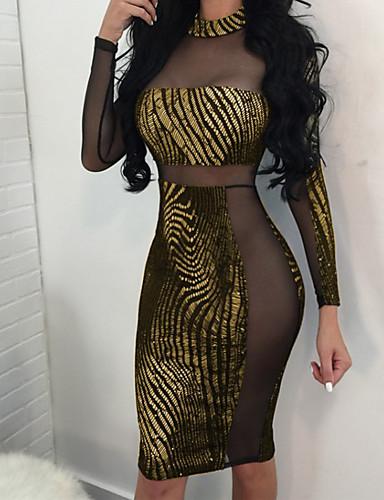 c4fd4fdb823 Mujer Fiesta Discoteca Delgado Vaina Vestido - Malla, Un Color Hasta la  Rodilla Cuello Barco / Sexy