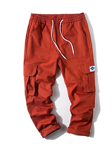 billige Herrebukser og -shorts-Herre Grunnleggende Store størrelser Daglig Chinos Bukser - Ensfarget Oransje Militærgrønn Kakifarget XXXL XXXXL XXXXXL