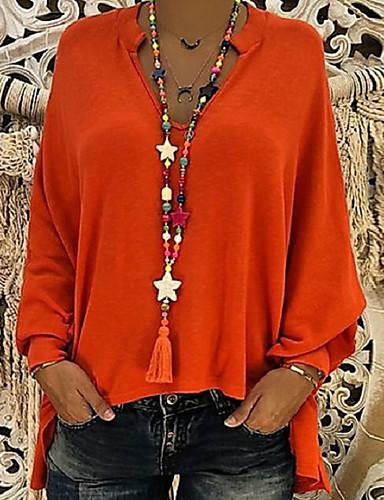 Damen Solide Übergrössen Bluse, Tiefes V Orange
