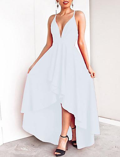 voordelige Maxi-jurken-Dames Feest Standaard Slank Schede Jurk - Effen, Blote rug Diepe V-hals Maxi / Sexy
