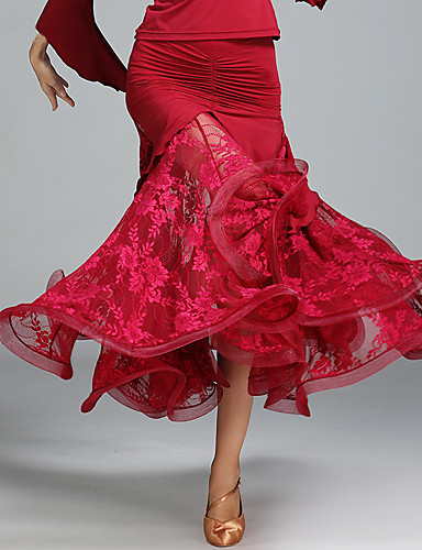 halpa Etniset & Cultural Puvut-Espanjan nainen Hameet Aikuisten Naisten Flamenco Halloween Karnevaali Masquerade Festivaali / loma Pitsi Chinlon Musta / Rubiini / Tumman vihreä Nainen Karnevaalipuvut Pitsi