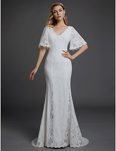 9d5386677ec Boho Mermaid   Trumpet V Neck Sweep   Brush Train Lace Made-To-Measure Wedding  Dresses with Lace by LAN TING BRIDE®
