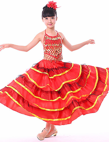 2cf8deb18e2d Latin Dance Bottoms / Flamenco Girls' Performance Spandex Ruching / Split  Joint Dropped Skirts