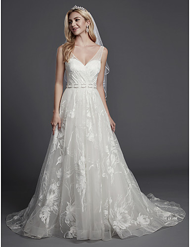 ad2d607a8dc A-Line V Neck Court Train Lace   Tulle Made-To-Measure Wedding Dresses with  Appliques   Lace by LAN TING BRIDE®