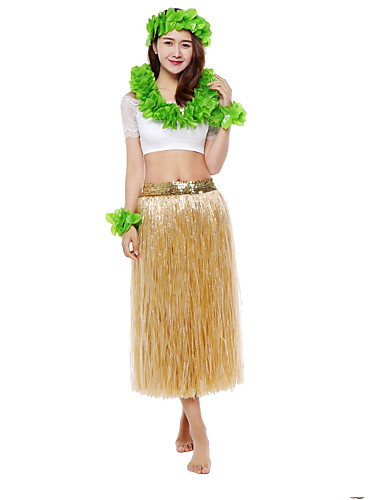 halpa Etniset & Cultural Puvut-Havaijilainen Hula-tanssija Havaijin puvut Ruoho hame Aikuisten Naisten Vintage-kokoelma Joulu Halloween Karnevaali Festivaali / loma PVC Puuvilla Valkoinen / Sateenkaari / Vihreä Karnevaalipuvut