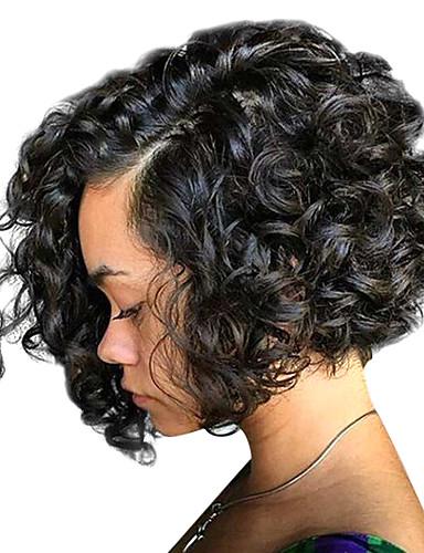 povoljno Perike s ljudskom kosom-Ljudska kosa Lace Front Perika Bob frizura stil Brazilska kosa Kovrčav Perika 130% 150% 180% Gustoća kose s dječjom kosom Žene Srednja dužina Perike s ljudskom kosom