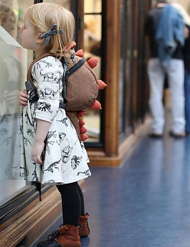 Μωρό Κοριτσίστικα Ενεργό Στάμπα Μακρυμάνικο Πολυεστέρας Φόρεμα Μπεζ