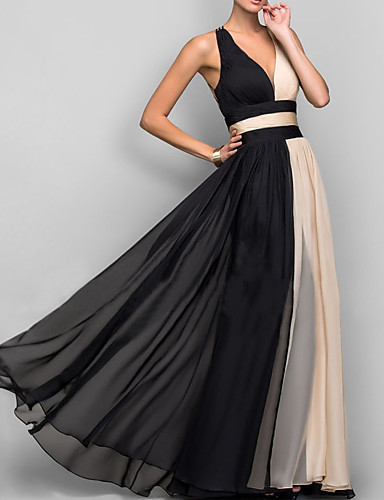 442bcc1926b5b فستان نسائي متموج مثيرة أنيق بدون ظهر طويل للأرض ألوان متناوبة منخفضة V  رقبة مناسب للحفلات