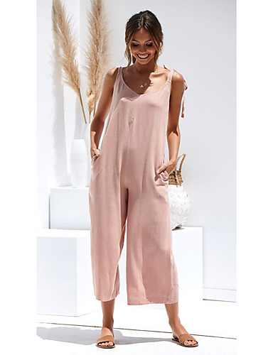 2e274b5102 Women s Daily Black Pink Army Green Jumpsuit