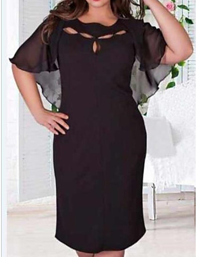 cheap Women's Plus Size Dresses-2019 New Arrival Women Daily Slim Chiffon Dress Solid Colored Plus Size Robe Femme Vestidos Beautiful Plus Size Dresses