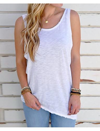 Mulheres Camiseta Básico Frente Única, Sólido