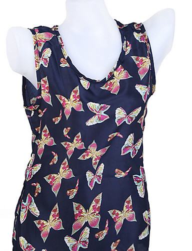 economico Maglie donna-T-shirt Per donna Animali Cotone Blu marino