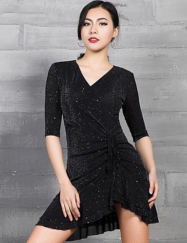 cheap New Arrivals-Latin Dance Dresses Women's Performance Spandex Glitter / Ruching Half Sleeve Dress