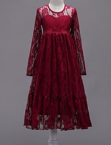 فستان كم طويل لون سادة للفتيات أطفال