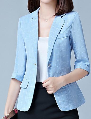 billige Ytterklær til damer-Dame Daglig Grunnleggende Høst Normal Blazer, Ensfarget / Stripet Skjortekrage Langermet Polyester Mørkegrå / Navyblå / Lyseblå