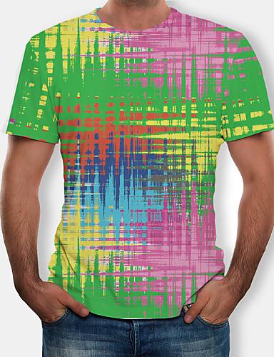 abordables Camisetas y Tops de Hombre-Hombre Camiseta, Escote Redondo Arco iris Verde Trébol XXXXL / Manga Corta