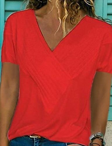 billige Topper til damer-V-hals T-skjorte Dame - Ensfarget Grunnleggende Rosa XL
