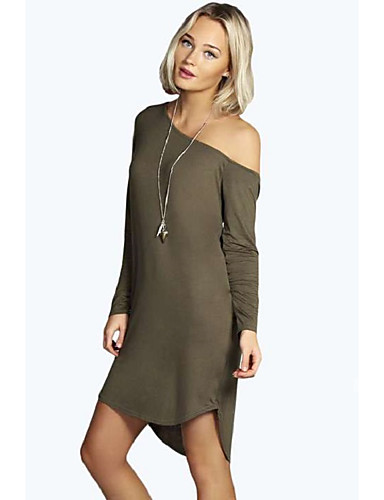 d1a2edba7265 Women s Daily Loose Shift Dress One Shoulder Black Camel Gray M L XL
