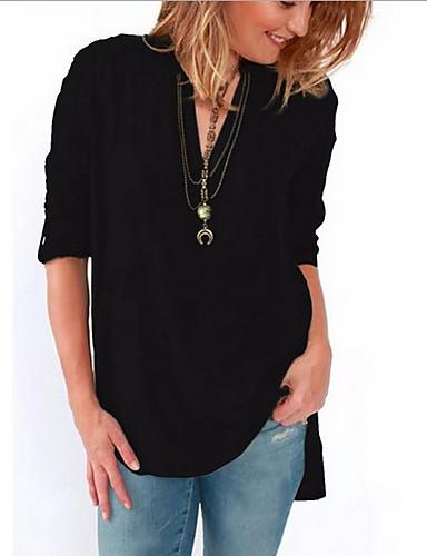 povoljno Majica-Veći konfekcijski brojevi Majica Žene Dnevno Jednobojni V izrez Chiffon Fuksija / Proljeće / Ljeto / Jesen / Zima