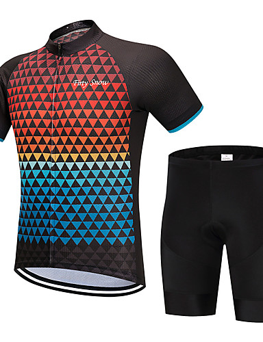 cheap Cycling Clothing-FirtySnow Men's Short Sleeve Cycling Jersey with Shorts - Blue+Orange Plaid / Checkered Bike Clothing Suit Breathable Moisture Wicking Quick Dry Sports Polyester Plaid / Checkered Mountain Bike MTB