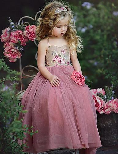 子供 / 幼児 女の子 甘い / かわいいスタイル 幾何学模様 / カラーブロック レースアップ / プリント ノースリーブ ドレス ピンク