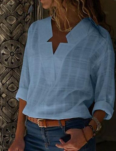povoljno Majica-Veći konfekcijski brojevi Majica Žene - Ulični šik Dnevno Pamuk Jednobojni V izrez Crn
