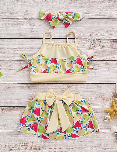 Aspirante Bambino (1-4 Anni) Da Ragazza Spiaggia Frutta Poliestere - Elastene Costumi Da Bagno Giallo #07142597 Firm In Structure