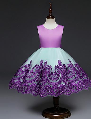Μωρό Κοριτσίστικα Βασικό Συνδυασμός Χρωμάτων Αμάνικο Πολυεστέρας Φόρεμα Ρουμπίνι