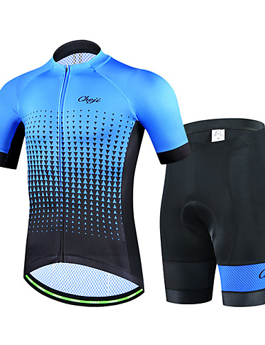 cheap Cycling Clothing-cheji® Men's Short Sleeve Cycling Jersey with Shorts Navy Blue Green Blue Dots Bike Clothing Suit Breathable Quick Dry Sports Lycra Dots Mountain Bike MTB Road Bike Cycling Clothing Apparel