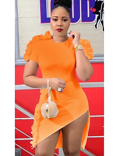 צווארון עגול קצר מיני אחיד - שמלה צינור רזה בגדי ריקוד נשים