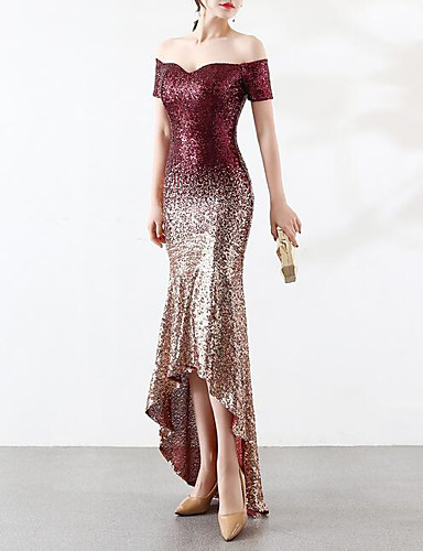 cheap Evening Dresses-Mermaid / Trumpet Off Shoulder Asymmetrical Sequined Sparkle & Shine / Color Block Formal Evening Dress with Sequin / Crystals / Embroidery by LAN TING Express