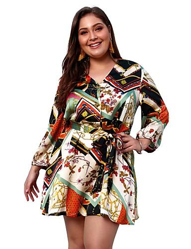 ebbaa4d9853e Women's Plus Size Daily Going out Basic Boho Slim A Line Sheath Skater  Dress - Floral Geometric Color Block Lace up Print V Neck Spring Blue  Orange XXL XXXL ...