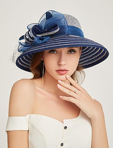 abordables Accessoires Femme-Femme Paille Actif Vacances Chapeau de Paille Rayé Mosaïque Bleu Marron Noir Toutes les Saisons