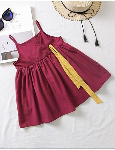 子供 / 幼児 女の子 甘い / かわいいスタイル ソリッド / カラーブロック ノースリーブ ドレス ワイン