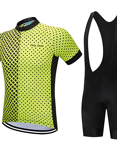 cheap Cycling Clothing-FirtySnow Men's Short Sleeve Cycling Jersey with Bib Shorts - White Black Bike Clothing Suit Breathable Moisture Wicking Quick Dry Sports Polyester Spots & Checks Mountain Bike MTB Road Bike Cycling