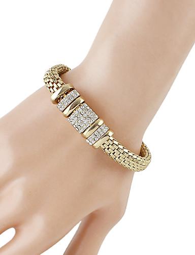 abordables Bracelet Or Rose-Chaînes Bracelets Femme Chaîne épaisse Chaîne de baht Strass Branché Mode Bracelet Bijoux Dorée pour Quotidien Rendez-vous