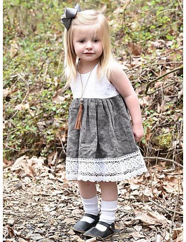 Μωρό Κοριτσίστικα Βασικό Συνδυασμός Χρωμάτων Αμάνικο Βαμβάκι Φόρεμα Λευκό