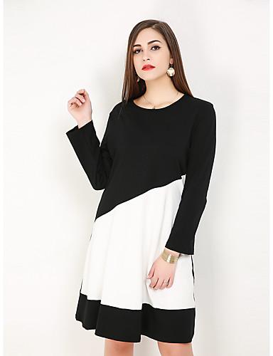 voordelige Grote maten jurken-Dames Grote maten Standaard Elegant Katoen A-lijn Recht Jurk - Kleurenblok Asymmetrisch Zwart & Wit