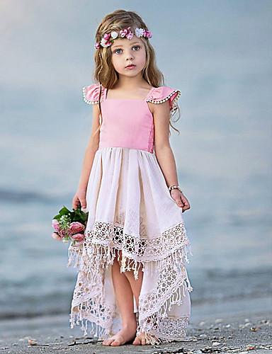Dziecko Dla dziewczynek Podstawowy Solidne kolory Bez rękawów Bawełna Sukienka Rumiany róż / Brzdąc