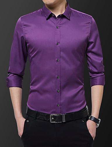 voordelige Herenoverhemden-Heren Zakelijk / Standaard Geborduurd Overhemd Effen / Grafisch Zwart