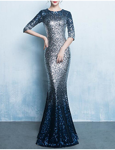 d541408b18c Mermaid   Trumpet Jewel Neck Floor Length Sequined Dress with Sequin    Crystals   Embroidery by LAN TING Express 7198530 2019 –  100.99