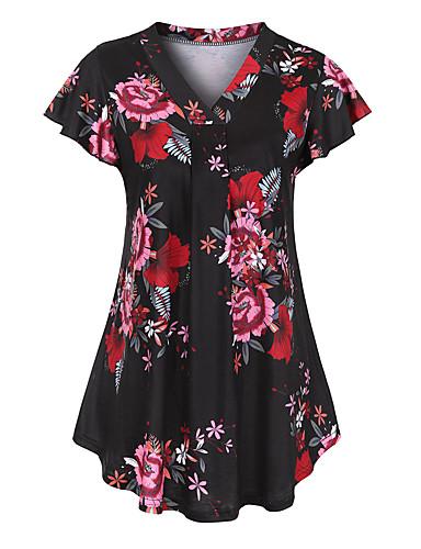 Mulheres Camiseta Patchwork / Estampado, Floral Decote V